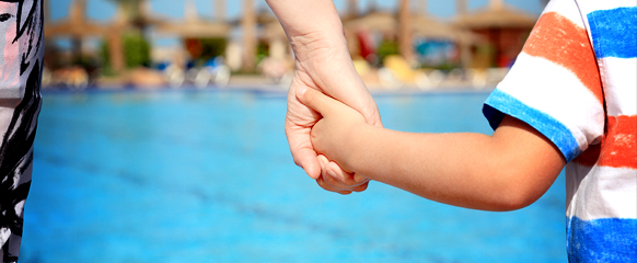 Adult And Child At Pool